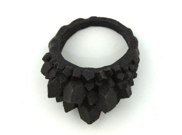 Crystal Ring size 7 3d printed matte black steel