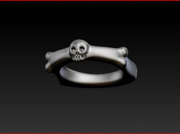 Skull and Bone Ring aprox. size 7 3d printed 3D Shot in Zbrush with metal look.