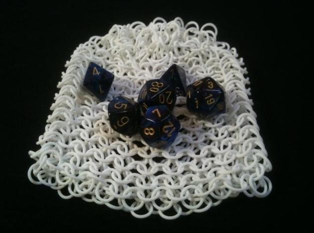 Chainmail Dice Bag 3d printed withDice