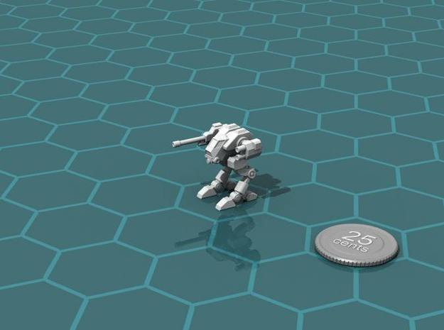 Terran Scout Walker 3d printed Render of the model, with a virtual quarter for scale.