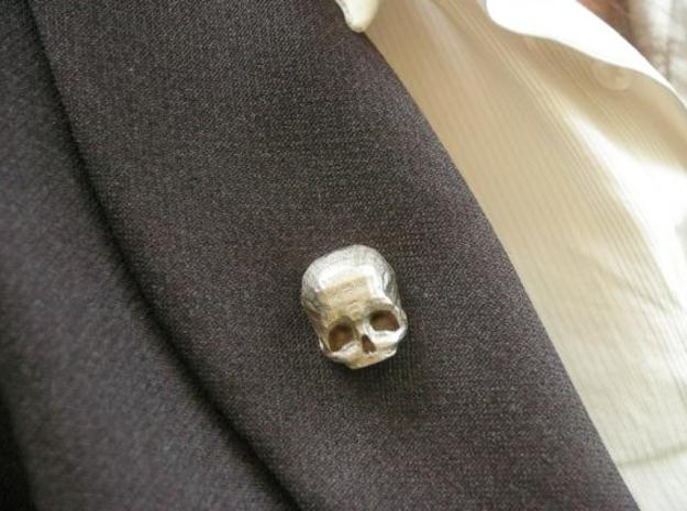 3D Printed Skull Brooch 3d printed Stainless Steel Skull Brooch