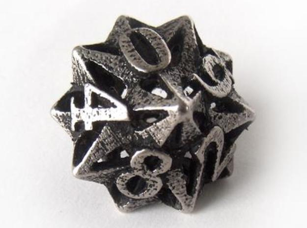Pinwheel Die10 3d printed In stainless steel and inked