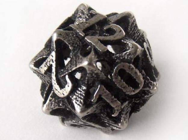 Pinwheel Die12 3d printed In stainless steel and inked