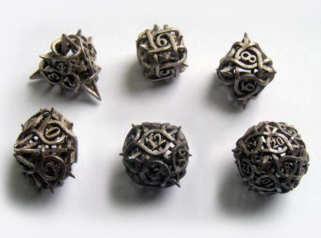 Thorn Dice Set 3d printed In stainless steel.