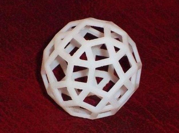 Rhombicosidodecahedron 3d printed White detail print