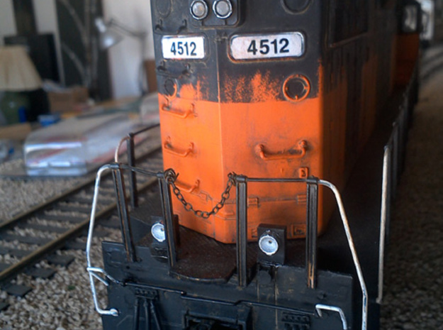 O Scale Ditchlights (Set of 4) 3d printed Installed on a Weaver O scale GP38-2