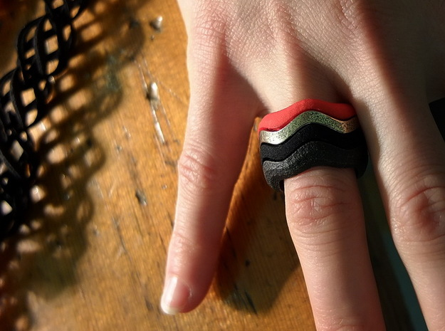 """""""Hitten Hearts """" two or more parts fits together 3d printed 4 part ring"""