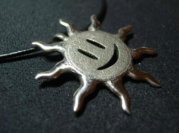 Smiling sun pendant 3d printed Custom polish 1