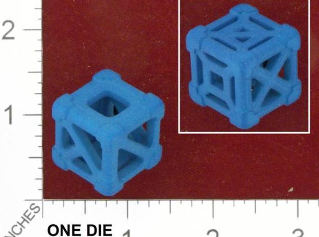Cage 6-Sided Die - Empty (smaller) 3d printed Photo by Kevin Cook