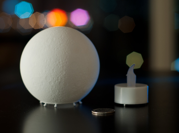 Moon lamp 3d printed Surface detail, with quarter for scale