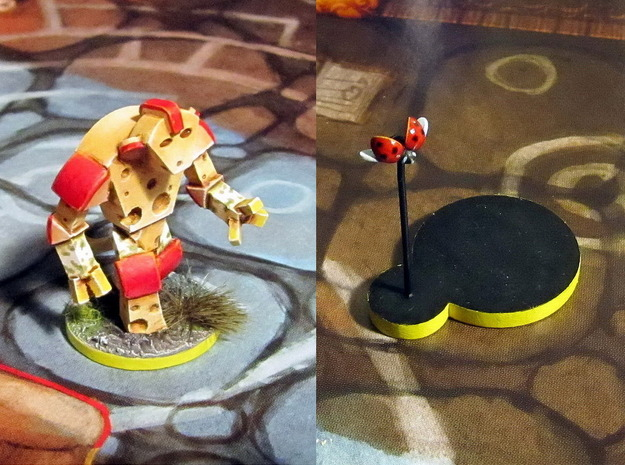 Cheese Golem & Ladybug 3d printed Models hand-painted, after assembly and quick filing. Front and back views (game board with flagstones copyright Plaid Hat Games).