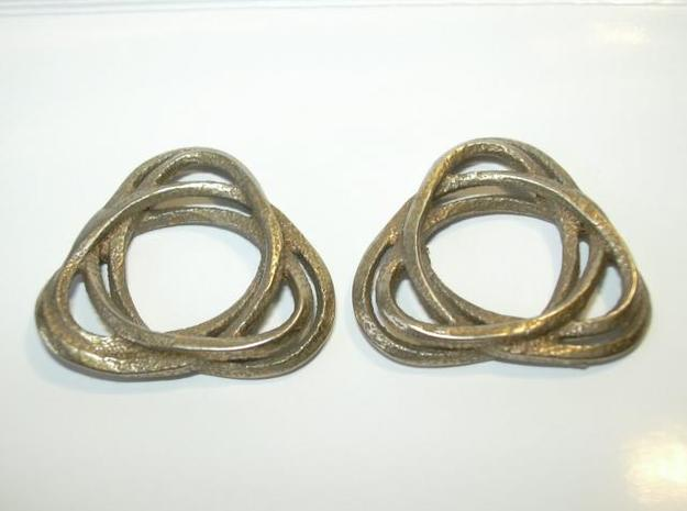 Tri mobius twin rail right earring 3d printed Photo of pair