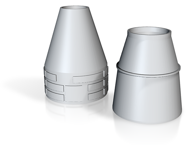 HO 1/87 Nose & Rocket Cones only 3d printed The nosecone 'tip' is hidden from view, inside the nose cone rear.