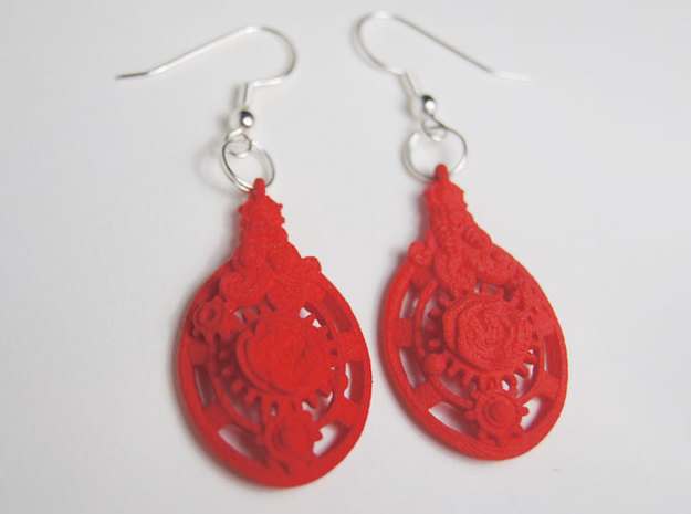 Botanika Mechanicum Earrings 3d printed Coral Red Strong and Flexible
