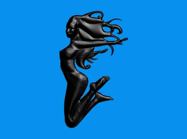 Art Nouveau Jump 100mm 3d printed Rendered in Black Glass