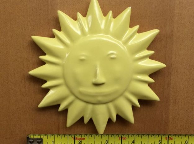 Ceramic Sun Decoration 3d printed Size reference.