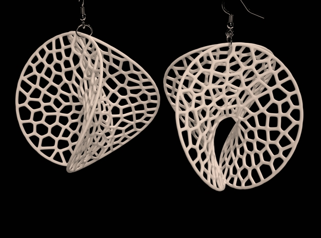 EVD Earrings (L / 7cm / 2.8 inch) 3d printed Enneper Voronoi Dreamcatcher Earrings