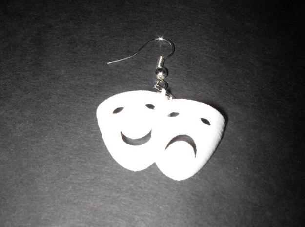 Comedy Tragedy Mask Earrings (pair) 3d printed printed, not sanded
