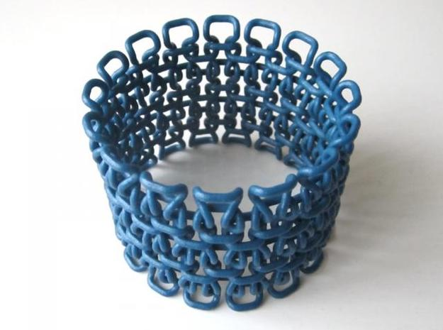 Stitch Bracelet - M 3d printed In Winter Blue Strong and Flexible (and manually varnished)