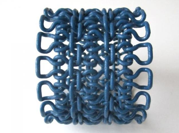 Stitch Bracelet - M 3d printed In Winter Blue Strong and Flexible (and manually varnished) - other view