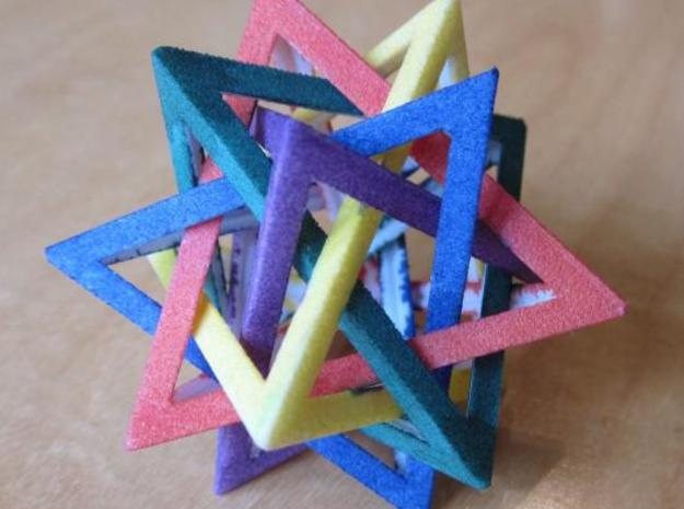 Five Tetrahedra Small 3d printed Colored by hand with magic markers.