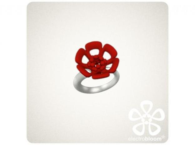 Joshua flower charm. 3d printed RED JOSHUA FLOWER CHARM ON WHITE SNAP RING