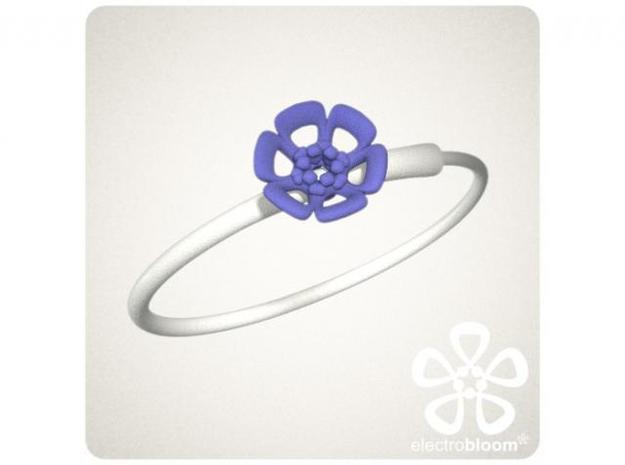Joshua flower charm. 3d printed INDIGO JOSHUA FLOWER CHARM ON WHITE SNAP BANGLE
