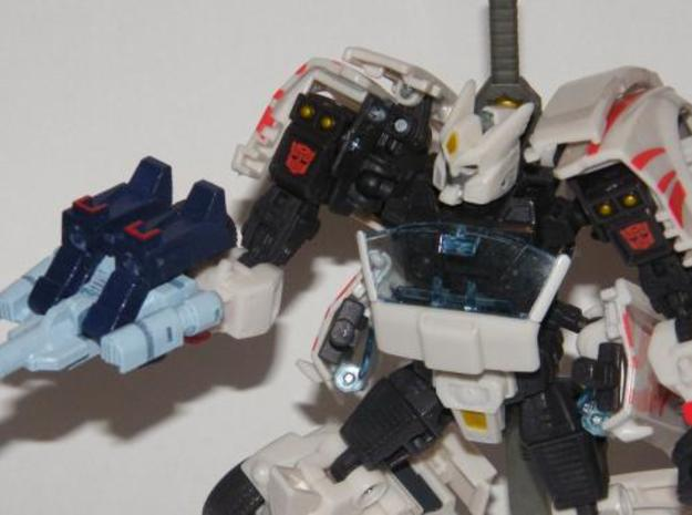 """Mayhem"" Gunslinger figure 3d printed Mayhem in gun mode, held normally using 5mm peg handle"