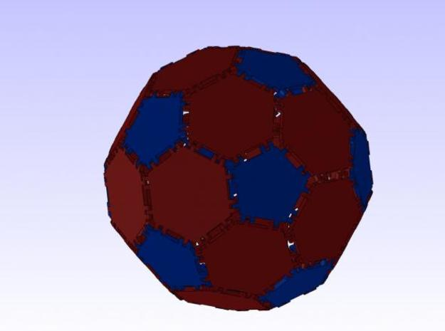 Hex Tile 3d printed Truncated Icosahedron using hex and penta tiles