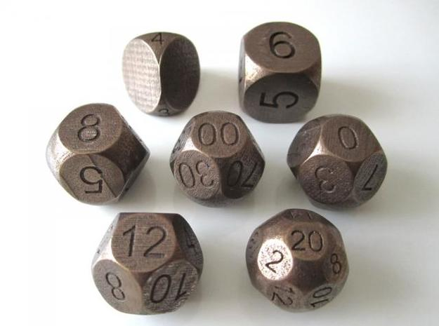 Sphere Dice Set 3d printed Antique Bronze Glossy