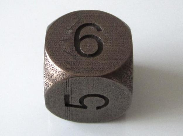 D6 Sphere Dice 3d printed Antique Bronze Glossy
