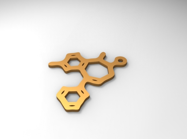 Valium pendant 3d printed Rendered in Polished Brass