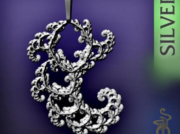 6cm Fractal lace, intricate spirals pendant 3d printed 5