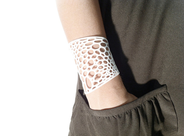 Voronoi bracelet #2 (MEDIUM) 3d printed White Strong & Flexible version