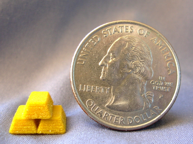 Stacked Gold Bars 3d printed Size in comparison to a US Quarter.