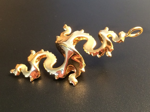 Dragon Pendant 5cm 3d printed 18K Gold Plated