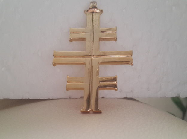 Gea's Cross 3d printed Gold Plate Brass