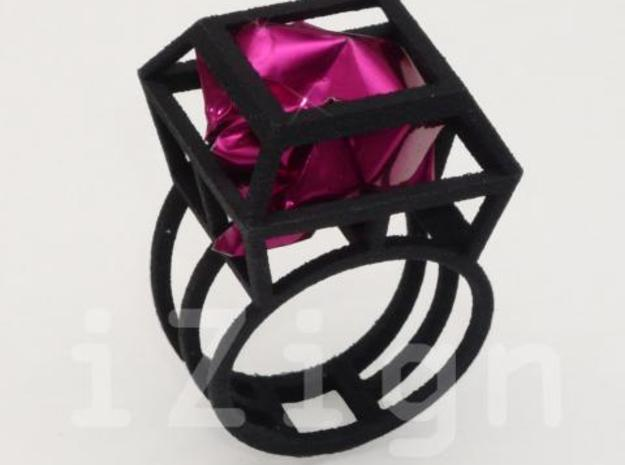 ring06 17 3d printed Black Strong & Flexible dressed up with a pink wrapper (not included)