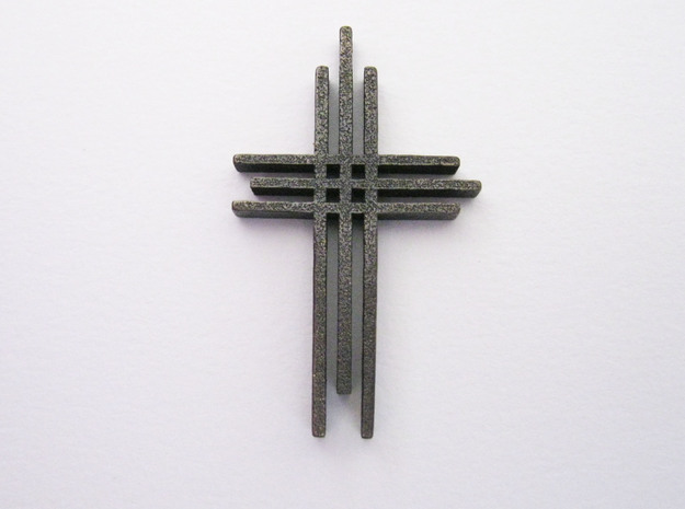 Cross Pendant 3d printed Shown in Polished Nickel Steel
