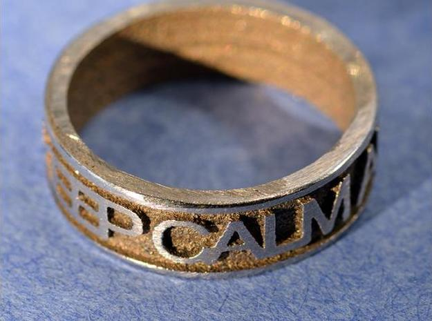 "Size 9 Steel Ring ""KEEP CALM & CARRY ON"" 3d printed Description"