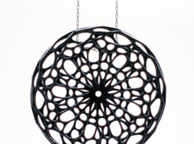Cellular Pendant 3d printed in Black Strong & flexible