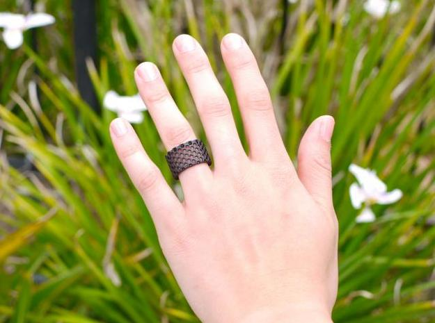 Slim Perforated Honeycomb Ring 3d printed Slim in black