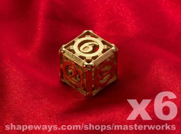 Steampunk 6d6 Set 3d printed Gold Plated Glossy