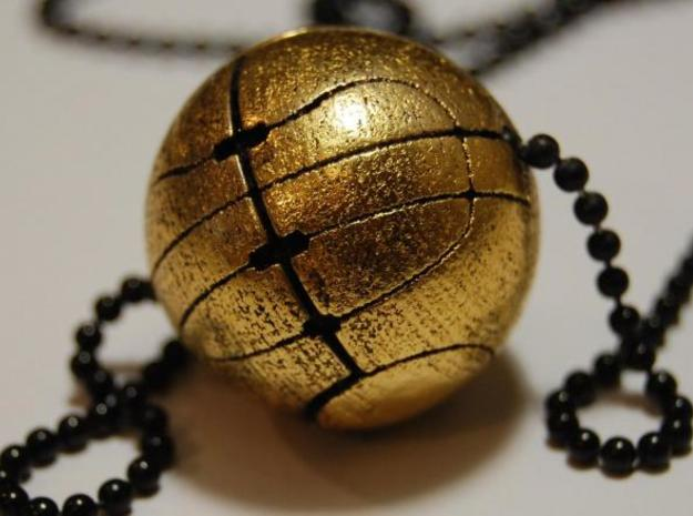 Apple of Eden Necklace Pendant 3d printed Gold Gloss Front