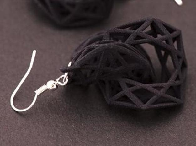 BRILLIANT TWIST - earrings 3d printed Black