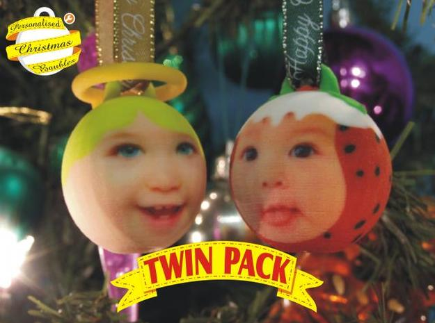 Angel & Puddin baubles twin pack (personalised) 3D 3d printed :)