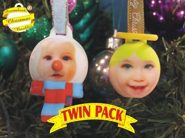 Angel & Snowman baubles twin pack (personalised)3D 3d printed front view