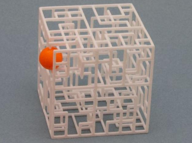 Escher's Playground 3D Maze Cube 3d printed Ball in exit
