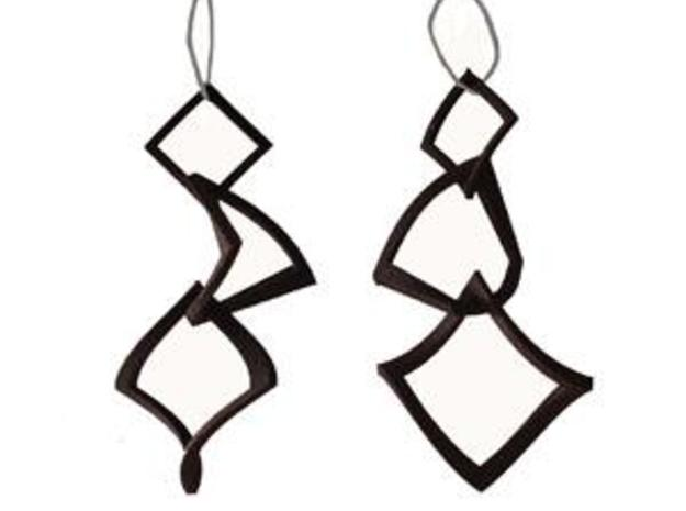 Twisted squares earrings 3d printed In Black, Strong and Flexible