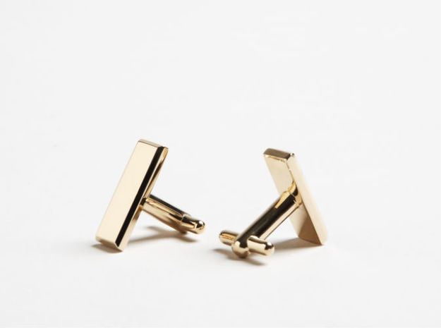 Lieutenant Bar Cufflinks 3d printed 3-D printed Lieutenant bar cuff-links (shown in 14k gold finish)